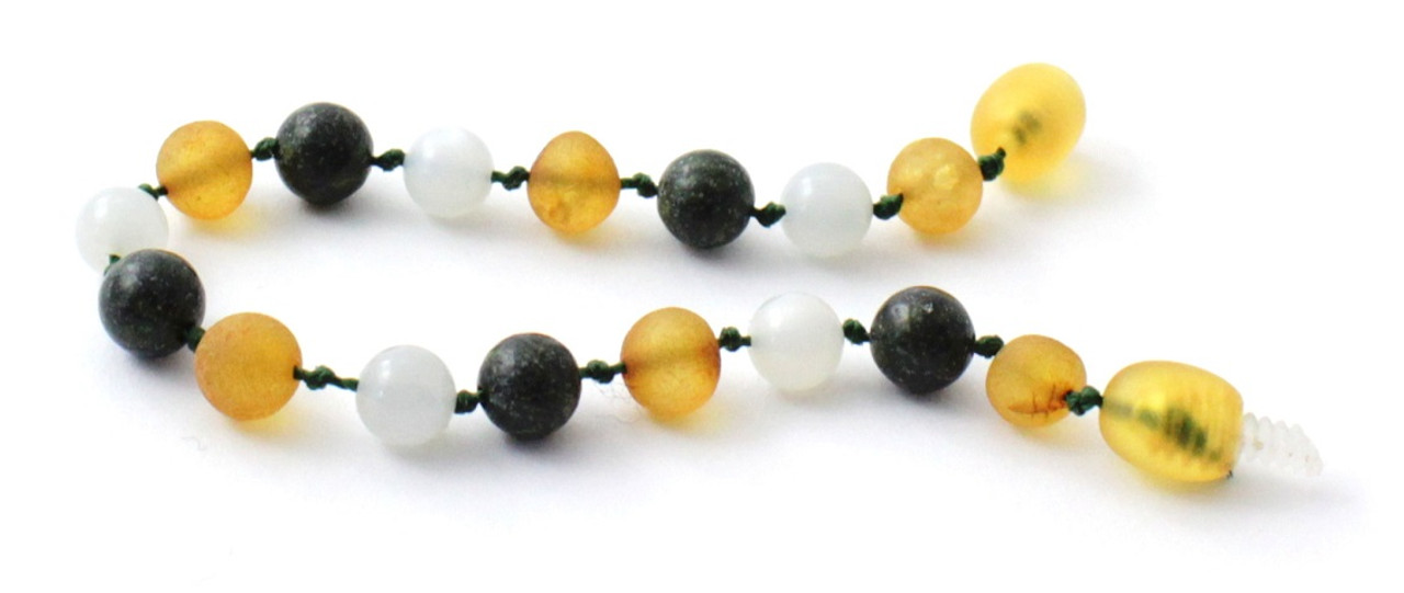 Jewelry Jewellery Raw Honey Amber and Green Lace Stone Beads Baltic Amber Beaded Anklet or Bracelet Made With Moonstone