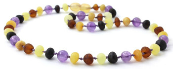 Mix, Amethyst, Raw, Necklace, Multicolor, Violet, Teething, Amber, Baltic Jewelry