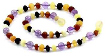 Mix, Amethyst, Raw, Necklace, Multicolor, Violet, Teething, Amber, Baltic Jewelry 2