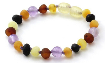 Multicolor, Raw, Teething, Unpolished, Anklet,  Baltic Amber, Amethyst, Bracelet