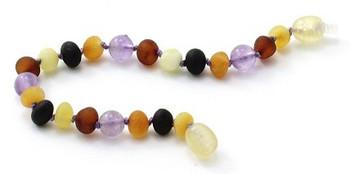 Multicolor, Raw, Teething, Unpolished, Anklet,  Baltic Amber, Amethyst, Bracelet 2