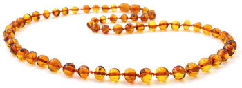 Jewelry, Necklace, Beaded, Polished, Cognac, Adult, Amber, Baltic, Women, Wholesale