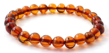 Jewelry, Bracelet, Stretch, Baltic, Cognac, Amber, Polished, Adult, Beaded
