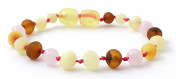 Raw, Rose Quartz, Anklet, Pink, Unpolished, Bracelet, Teething, Jewelry, Amber