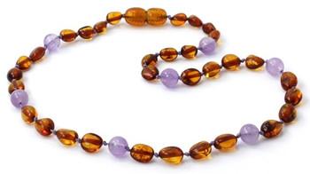 Cognac Amber, Bean, Olive, Violet, Amethyst, Teething, Gemstone, Necklace, Polished