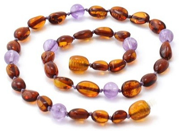Cognac Amber, Bean, Olive, Violet, Amethyst, Teething, Gemstone, Necklace, Polished 2