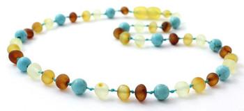 Necklace, Raw, Unpolished, Baltic Amber, Turquoise, Gemstone, Teething, Children