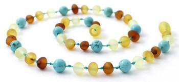 Necklace, Raw, Unpolished, Baltic Amber, Turquoise, Gemstone, Teething, Children 2