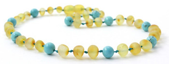 Teething Necklace, Amber, Turquoise, Milky, Butter, Unpolished, Raw