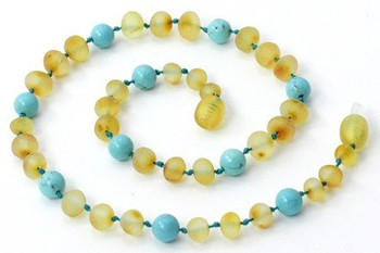 Teething Necklace, Amber, Turquoise, Milky, Butter, Unpolished, Raw 2