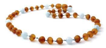Amber Unpolished Cognac Kids Necklace Mixed With Aquamarine