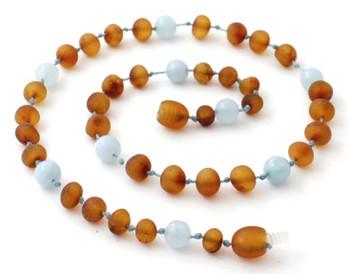Amber Unpolished Cognac Kids Necklace Mixed With Aquamarine 2