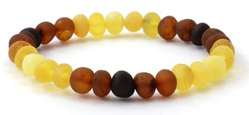 Bracelet, Stretch, Rainbow, Amber, Modern, Baltic, Jewelry, Adult, Raw, Unpolished