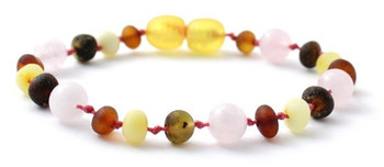 Multicolor Amber Unpolished Bracelet Mixed With Quartz