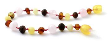 Multicolor Amber Unpolished Bracelet Mixed With Quartz 2