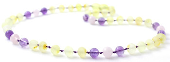 Lemon Amber, Unpolished, Baltic Jewelry, Teething, Amethyst, Necklace, Rose Quartz
