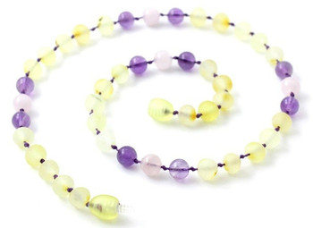 Lemon Amber, Unpolished, Baltic Jewelry, Teething, Amethyst, Necklace, Rose Quartz 2