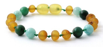 Amber, Amazonite, Green, Raw Honey, Anklet, Baltic, Bracelet, Teething, African Jade