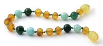 Amber, Amazonite, Green, Raw Honey, Anklet, Baltic, Bracelet, Teething, African Jade 2