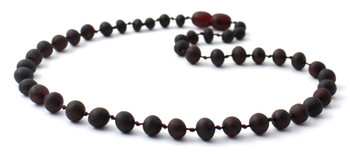 Cherry, Baroque, Necklace, Black, Beaded, Raw, Unpolished, Teething, Amber, Baltic