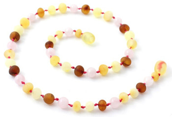 Rose Quartz, Amber, Unpolished, Teething, Girl, Necklace, Gemstone, Raw 2