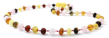 Multicolor Amber Raw Necklace for Baby Mixed With Quartz