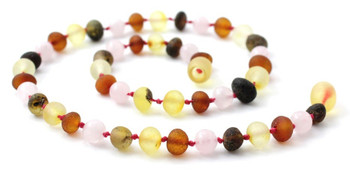 Multicolor Amber Raw Necklace for Baby Mixed With Quartz 2