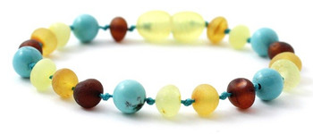 Multicolor, Amber, Turquoise, Anklet, Teething, Bracelet, Unpolished, Raw, Jewelry