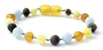 Aquamarine, Mix, Multicolor, Baltic Amber, Unpolished, Bracelet, Teething, Anklet