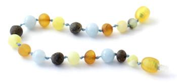 Aquamarine, Mix, Multicolor, Baltic Amber, Unpolished, Bracelet, Teething, Anklet 2