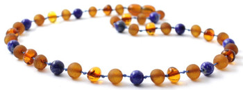 Lapis Lazuli, Cognac, Baltic Amber, Jewelry, Necklace, Blue, Raw, Teething, Polished