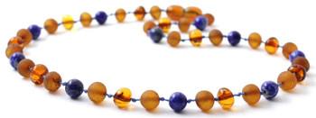 Lapis Lazuli, Cognac, Baltic Amber, Jewelry, Necklace, Blue, Raw, Teething, Polished