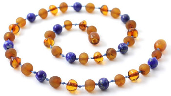 Lapis Lazuli, Cognac, Baltic Amber, Jewelry, Necklace, Blue, Raw, Teething, Polished 2