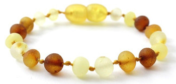 Baroque, Raw, Mix, Multicolor, Anklet, Bracelet, Unpolished, Baltic, Amber, Jewelry