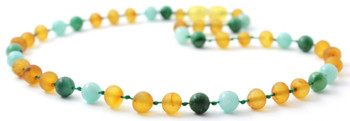 Amber Raw Honey Genuine Necklace Mixed With Amazonite and African Jade