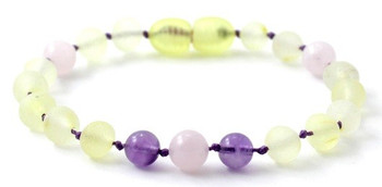 Amethyst, Violet, Baltic Amber, Rose Quartz, Raw Lemon, Unpolished, Anklet, Bracelet