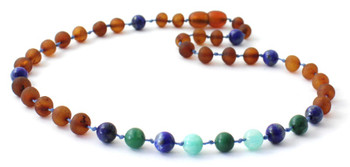 Cognac Amber Unpolished Necklace Mixed With Lapis Lazuli, Jade and Amazonite
