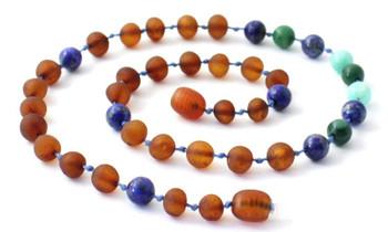 Cognac Amber Unpolished Necklace Mixed With Lapis Lazuli, Jade and Amazonite 2