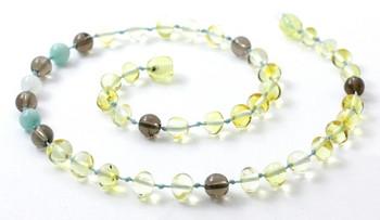Smoky Quartz, Lemon, Necklace, Polished, Teething, Moonstone, Baltic Amber, Amazonite 2