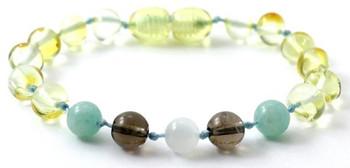 Amazonite, Teething, Green, Anklet, Lemon, Smoky Quartz, Baltic Amber, Bracelet, Moonstone