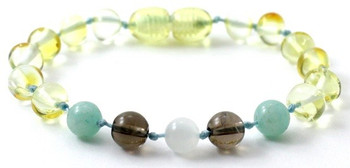 Amazonite, Teething, Green, Anklet, Lemon, Smoky Quartz, Baltic Amber, Bracelet, Moonstone