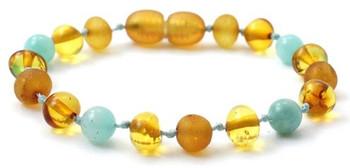 Baltic Amber, Polished, Amazonite, Bracelet, Green, Honey, Anklet, Jewelry, Teething
