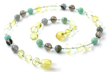 Labradorite, Baltic Amber, Polished, Lemon, Necklace, Smoky Quartz, Teething, Amazonite 2