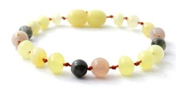 Labradorite, Milky, Butter, Polished, Baltic Amber, Anklet, Sunstone, Bracelet