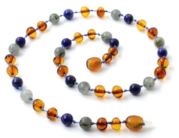 Amber Cognac Necklace Mixed With Labradorite and Lapis Lazuli 2