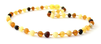 Baroque, Necklace, Amber, Teething, Mix, Multicolor, Raw, Baltic, Unpolished