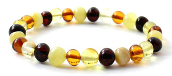 Amber, Mix, Bracelet, Multicolor, Polished, Stretch, Jewelry, Beaded, Baltic