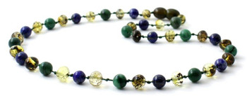 African Jade, Gemstone, Baltic Amber, Green, Lapis Lazuli, Blue, Necklace, Teething