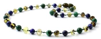African Jade, Gemstone, Baltic Amber, Green, Lapis Lazuli, Blue, Necklace, Teething