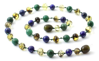 African Jade, Gemstone, Baltic Amber, Green, Lapis Lazuli, Blue, Necklace, Teething 2